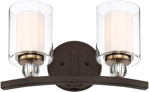 2021 Minka online sale Lavery Wall Light Fixtures 3072-416 Studio 5 Bath Vanity outlet sale Lighting, 2-Light 200 Watts, Painted Bronze online