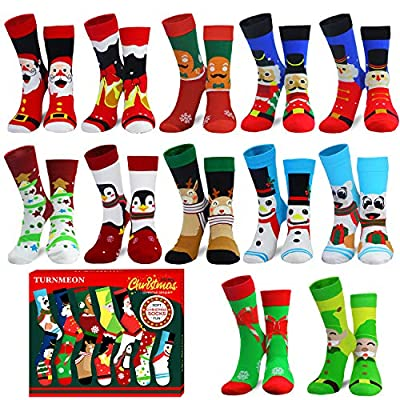 Camlinbo 2020 Novelty 12 Pair Unisex Christmas Socks Adult Kids Women Men Winter Funny Sock Xmas Size 9-11