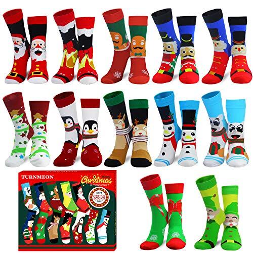 Camlinbo 2020 Novelty 12 Pair Unisex Christmas Socks Adult Kids Women Men Winter Funny Sock Xmas Holiday Gift Size 9-11