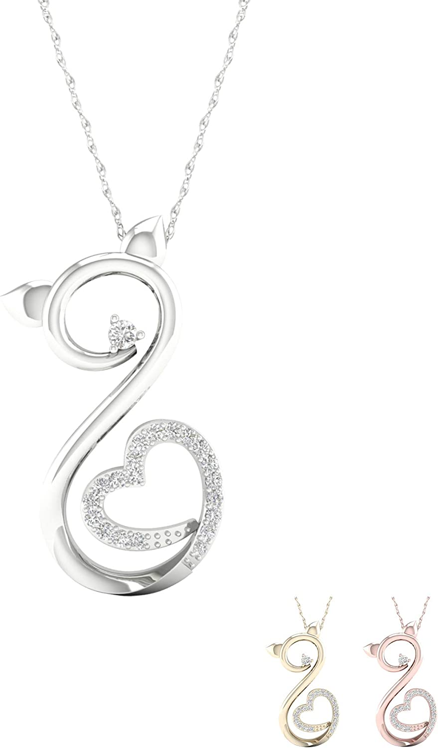 Birthstone Pendant IGI Certified 14k Rose Gold Diamond Pendant Easter/'s Day With Silver Chain Heart Shape Pendant Statement Jewelry