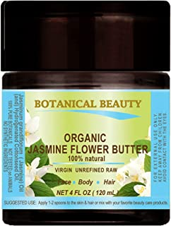 ORGANIC JASMINE OIL BUTTER RAW 100 % Natural / VIRGIN / UNREFINED 4 Fl.oz.- 120 ml. For Skin, Hair and Nail Care.