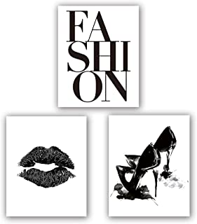 """Fashion Art Print Set of 3 (8""""X10""""Minimalist Makeup Art, Fashion Lips Shoes Watercolor Printing for Women Gifts, Vogue Black and White Canvas Wall Art Poster for Living Room Decor, No Frame"""