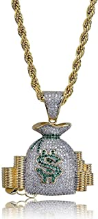 SHINY.U Iced Out CZ Cluster Simulated lab Diamond Star Money Bag Shootemup Emoji Pendant Necklace Chain for Men and Women Fashion Gifts
