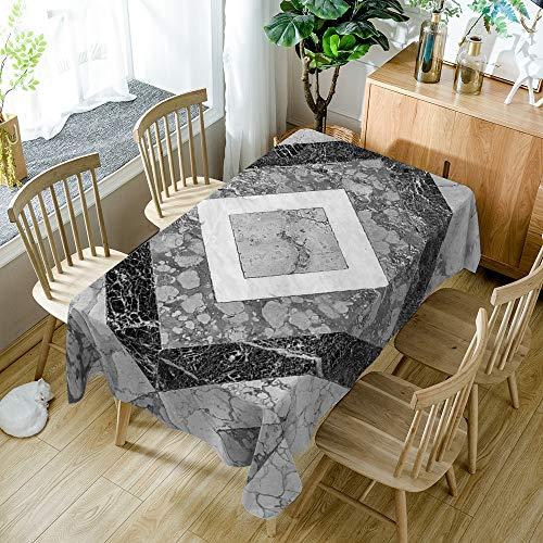 Tafelkleed rechthoek, zwart marmeren patroon, creatieve eenvoud, geometrische ruit, duurzaam tafelkleed, grijs waterdicht, geschikt voor huiskeukendecoratie 140X200cm