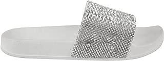 Womens Stylish Diamante Comfy Sliders Flipflop Slippers