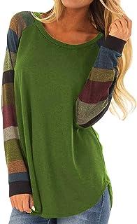 Moda de Mujer a Rayas Camiseta Casual Tops para Mujer Sexy Blusa de Manga Larga Suelta con Cuello Redondo Camisas para Muj...