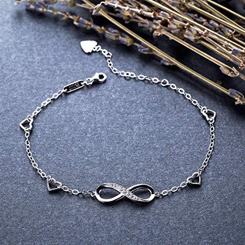 Billie Bijoux Womens 925 Sterling Silver Infinity Endless Love Symbol Charm Adjustable Anklet Bracelet, large bracelet, Gift for Christmas Day