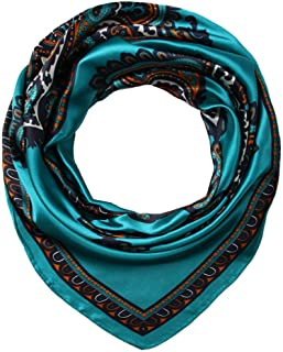"35"" Ladies Satin Square Silk Like Hair Scarves and Wraps Headscarf for Sleeping Tiffany Blue Totem Pattern"