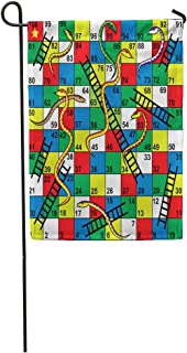 Tarolo Decoration Flag Colorful Kid Snakes and Ladders Board Game Start Finish Puzzle Forward Number Step Thick Fabric Double Sided Home Garden Flag 12
