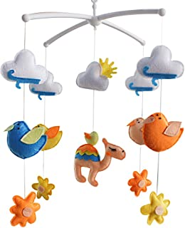 Oiseaux mignons Décor de lit bébé Décoration de lit de bébé Cadeau nouveau-né Mobile musical en tissu non tissé