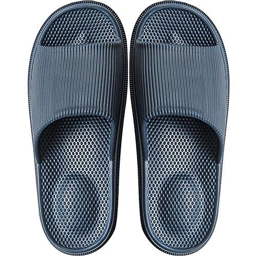 Herren Badelatschen Schlappen Sandalen Dusch Badeschuhe Hausschuhe Slides Flip Flops Sommer mit Massage Punkt Slippers Indoor rutschfest,Marine Blau,42/43 EU