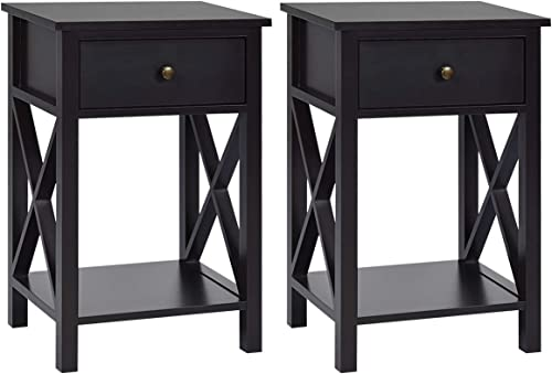 wholesale Giantex online sale Nightstand WoodenW/Drawer and Bottom Open Shelf Stable Frame new arrival X-Shape Side Table for Bedroom Home Furniture Bedside End Table (2, Coffee) online sale