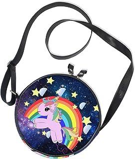 Ahomy Runde Tasche klein für Frauen – Galaxy Nebel Sternennebel Regenbogen Einhorn Damen Mode Crossbody Tasche Umhängetasche