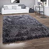 Paco Home Tapis Poils Longs pour Salon, Shaggy avec Fil Brillant, Gris Anthracite, Dimension:160x230 cm