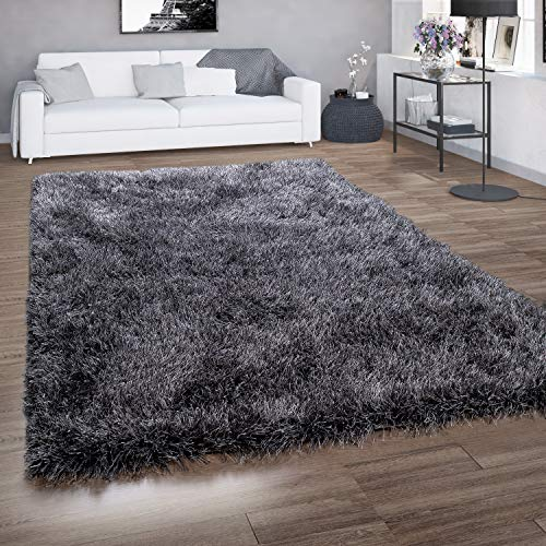 Paco Home Hochflor-Teppich, Shaggy Für Wohnzimmer, Mit Glitzer-Garn, Grau Anthrazit, Grösse:60x100 cm