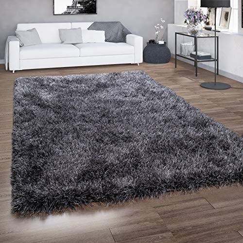 Paco Home Hochflor-Teppich, Shaggy Für Wohnzimmer, Mit Glitzer-Garn, Grau Anthrazit, Grösse:120x160 cm