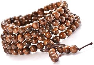 Mala Beads Bracelet Necklace for Men Women 6mm 108 Prayer Beads for Meditation Yoga 6mm Natural Wood Beads Elastic Cord