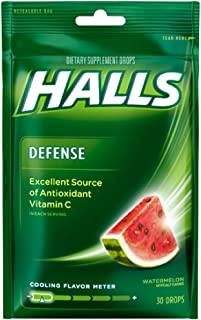 Halls Defense Vitamin C Drops Watermelon 30 ea ( Pack of 3)