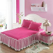 RUIDP Valance Sheet Solid Color Keep Warm Quilting lace Bed Skirt Princess Bed Summer Polyester Valance Sheet Double Pink Valance Fitted Sheets Double Bed Washable dust Ruffle