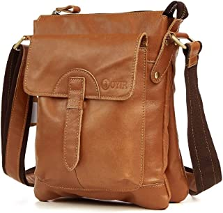 Vintage Style Men Single Shoulder Multi Pocket Casual First Layer Cowhide Genuine Leather Messenger Bag Crossbody (Color : Yellow Brown, Size : S)