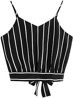 OVERMAL Big Girls' Crop Cami Top Girls Summer Basic Sexy Strappy Sleeveless Tops