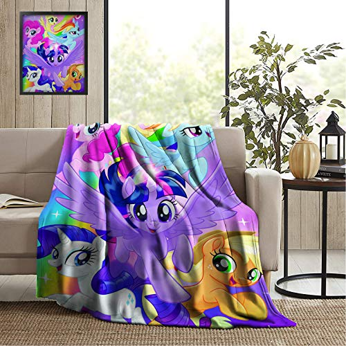 My Little Pony Blankets Soft Flannel Blanket Warm Fluffy Cozy Sherpa Fleece Throw Blanket For All Season Home Sofa Couch Bed Office Living Room Bedding Travelling Anime Blankets Adults Kids 50 X40