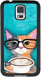 Samsung Galaxy S5 Phone Case, Cat Coffee Slim Anti-Scratch Automobile TPU PC Protective Shockproof Black Full Cover for Samsung Galaxy S5