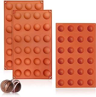 Walfos Lot de 3 moules à chocolat en silicone avec 24 cavités - Moule en forme d'hémisphère - Moule à chocolat - Gâteau ge...