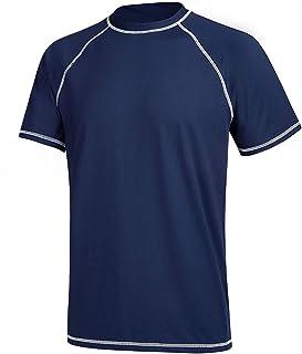 YuKaiChen Mens Running Shirt Qucik Drying Short Sleeve UPF 50+ Sports Swimming T-Shirt Rash Guards Gym Workout Tops