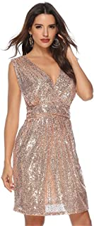 Women's Dresses, Sexy V Neck Sequin Sleeveless Midi Dress Summer New Style Stretchy Mini Party Dress