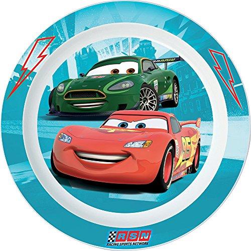 FUN HOUSE 005050 Cars Assiette Micro-ondable pour Enfant, Polypropylène, Rose, 22 x 22 x 1 cm