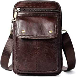 Men's Single Shoulder Diagonal Leather Small Square Bag,Casual Fashion Men's Pockets (Color : Dark Brown, Size : M)