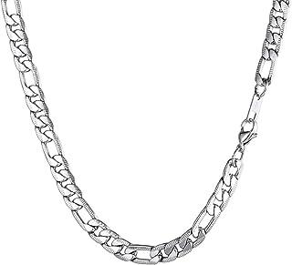 70bc4995d95d6 PROSTEEL Bijoux Collier Homme Chaîne Maille Figaro 1+3 à Ciselage Link Chain  Necklace en