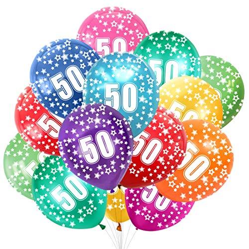 Bluelves 50. Geburtstag Kunterbunte Luftballons,50 Jahre Kindergeburtstag 30pcs,50 Jubiläum Hochzeit Party Deko, Zahl 50 Ballon Birthday Dekoration Junge Mädchen
