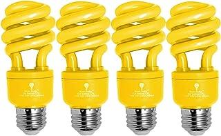 4 Pack BlueX CFL Yellow Bug Light Bulbs 13W - 50-Watt Equivalent - E26 Spiral Replacement Yellow Light Bulbs - Bulb Yellow...