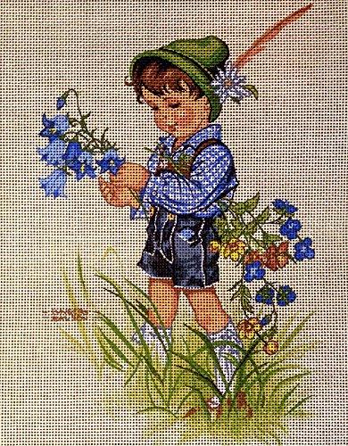 Hudemas Kit para Bordado Cañamazo Estampado para Medio Punto Los niños de Lungershausen 20x25 Cod.1206