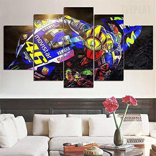 199Tdfc 5 Tafeln Wand-Kunst Bild Valentino Rossi Motogp Racing Bild Malerei Leinwanddruck Drucke auf Leinwand Das Bilder Öl Für zu Hause Moderne Dekoration Druckdekor(100x55cm)