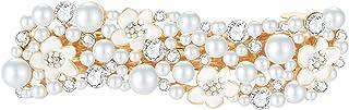 IPINK-Handmade Bridal Flower Hair Clips Simulated Pearl Wedding Bridesmaid Accessories