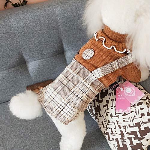 SUNXK High-end huisdier kleding kleine geur jurk set Teddy hond en winter kleding plaid rok, L, Orange step skirt