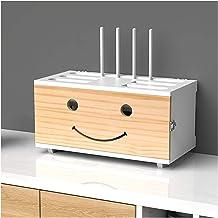 HOLPPO Wood Smile Power Strip protetor contra surtos, caixa de armazenamento de roteador, recipiente de gerenciamento de c...