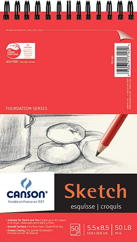 Canson Foundation Series Spiral Sketch Paper Pad, 5.5-Inch by 8.5-Inch, 50 Sheets