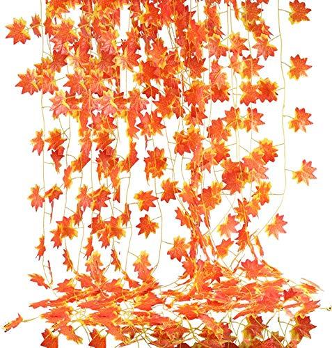 NAHUAA 12 Stück 2.3m Herbstgirlande Herbstblätter Girlande Herbstdeko Seide Ahornblatt Künstliche Hängepflanze Herbst Girlande Deko für Zuhause Küche Kamin Treppen Wand Draußen Fenster Hochzeit