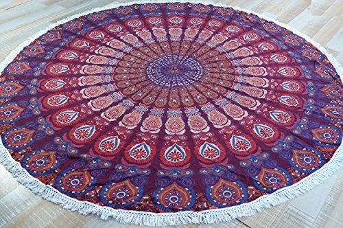 Guru-Shop Rundes Indisches Mandala Tuch, Boho Tagesdecke, Picknickdecke, Stranddecke, Runde Tischdecke - Rot/lila, Baumwolle, Bettüberwurf, Sofa Überwurf