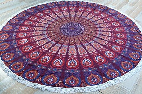 Guru-Shop Rundes Indisches Mandala Tuch, Tagesdecke, Picknickdecke, Stranddecke, Runde Tischdecke - Rot/lila, Baumwolle, Bettüberwurf, Sofa Überwurf