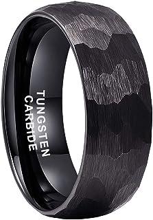 iTungsten 4mm 6mm 8mm Silver/Black/18K Gold/Rose Gold Hammered Tungsten Rings for Men Women Wedding Bands Domed Matte Fini...