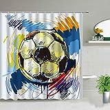XCBN Fußball drucken Duschvorhang Cartoons Muster Badewanne Display wasserdicht Kinder Jungen Zimmer Dekor Bad Gardinen A2 180x180cm