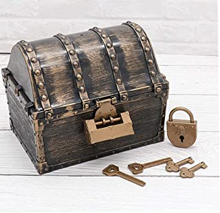 FANPING Kids Pirate Treasure Chest, Pirate Treasure Box Decoration Prop, Vintage Jewelry Storage Box Kids Toys Treasure Ch...