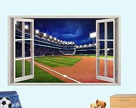 Yxsnow 3D Pegatinas de pared Ventana del piso del estadio de béisbol 3D Adhesivo Decorativo para Pared Pegatinas Decorativ...