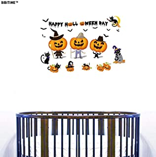 BIBITIME Wall Decals Happy Halloween Funny Smiling Pumpkins Flying Bats Moon Cute Black Cats Vinyl Stickers for Living Room Porch Front Door Shop Store Window Sticker Nursery Children Kids Room Decor