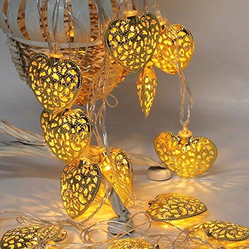 FeiliandaJJ Lichterkette, 10led Metall Herz geformt LED Licht für Garten Hochzeit Party Schlafzimmer Innen/Außen Haus Deko String Lights (Gold)